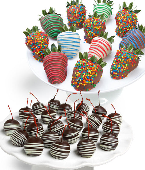Birthday Strawberries & Chocolate Covered Cherries - 36pc - Golden Edibles
