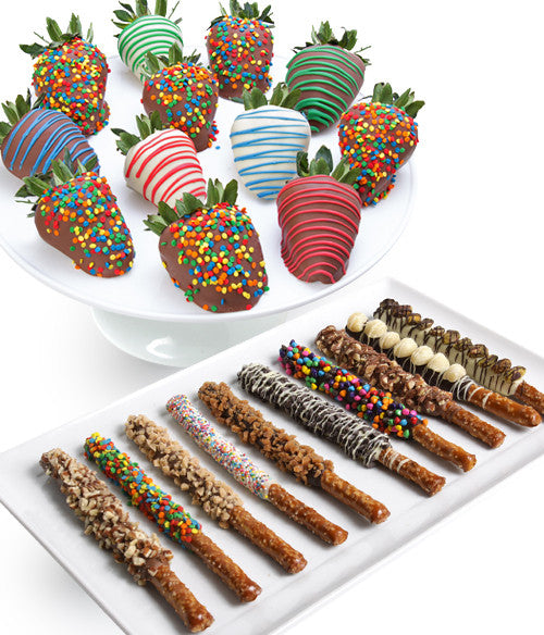 Birthday Chocolate Strawberries & Gourmet Pretzels - 24pc - Golden Edibles