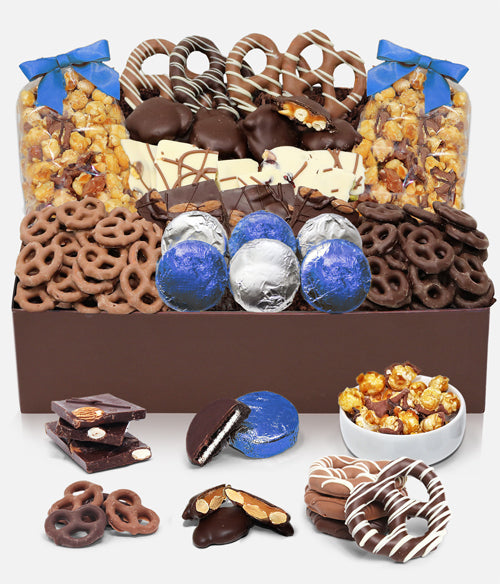 Winter Sensational Belgian Chocolate Snack Gift Basket Tray