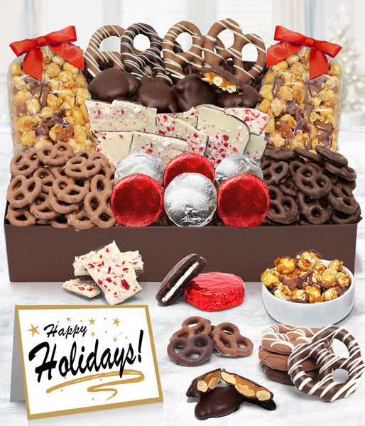 Holiday Sensational Belgian Chocolate Snack Gift Basket Tray