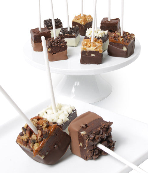 Chocolate Dipped Brownie Pop Bites - 10pc - Golden Edibles