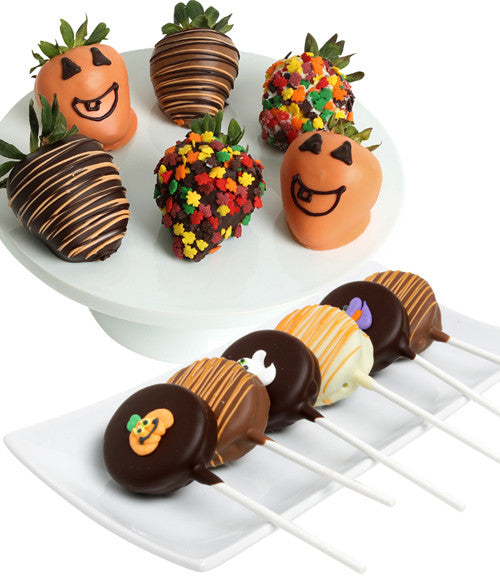 Halloween OREO® Cookie Pops & Chocolate Strawberries - 12pc - Golden Edibles
