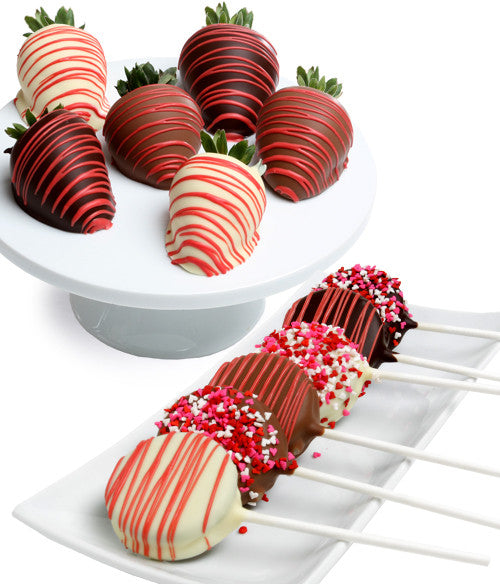 Valentine's Day OREO® Cookie Pops & Chocolate Strawberries - 12pc - Golden Edibles