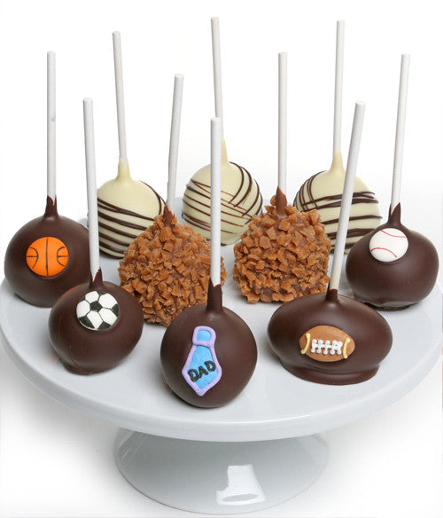 Father's Day Chocolate Dipped Cake Pops - 10pc - Golden Edibles