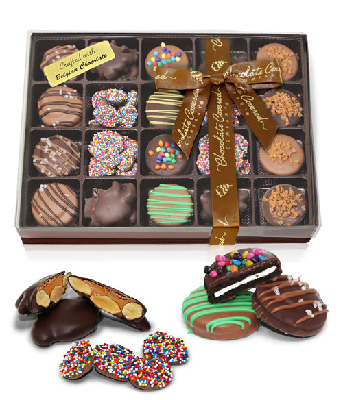 Celebration Belgian Chocolate Covered OREO® Cookies, Almond Clusters, and Nonpareils Gift Box - 21pc - Chocolate Covered Company®