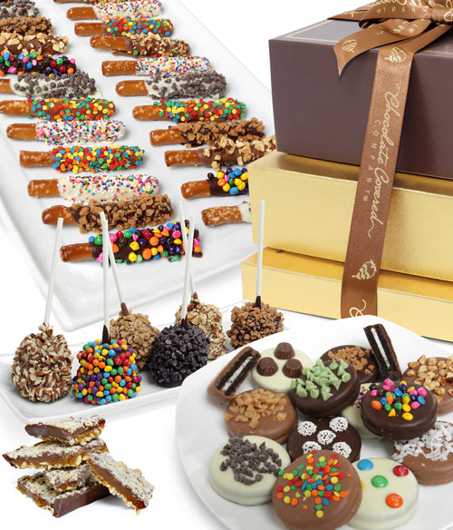 DELUXE GOURMET Belgian Chocolate Covered Gift Tower