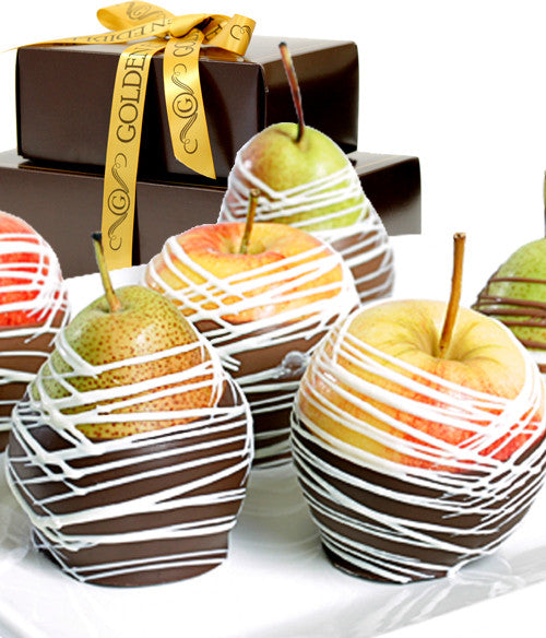 Classic Chocolate Covered Apples & Pears - Golden Edibles