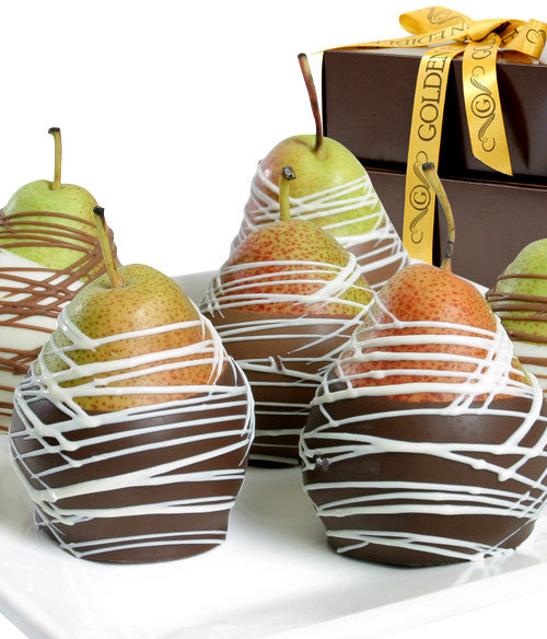 Classic Belgian Chocolate Covered Pears - Golden Edibles