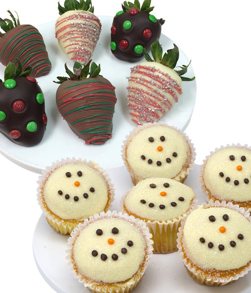 Snowman Cupcakes & Belgian Chocolate Covered Strawberries - 12pc - Chocolate Covered Company®