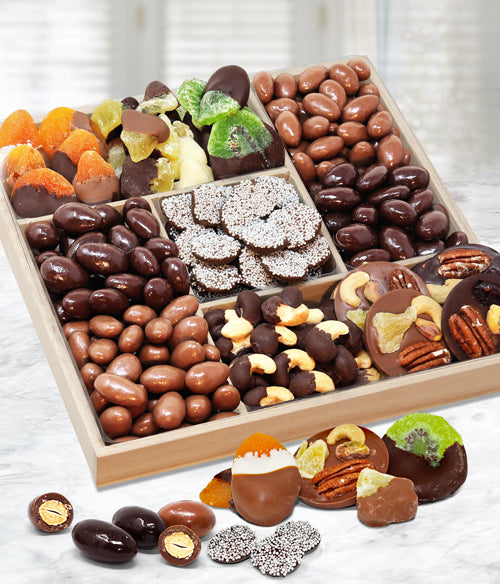 Spectacular Belgian Chocolate Covered Dried Fruit and Nut Gift Tray - Chocolate Covered Company®