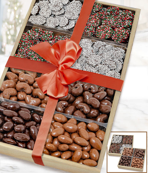 Holiday Belgian Chocolate Covered Nut & Nonpareils Gift Tray Set - Chocolate Covered Company®