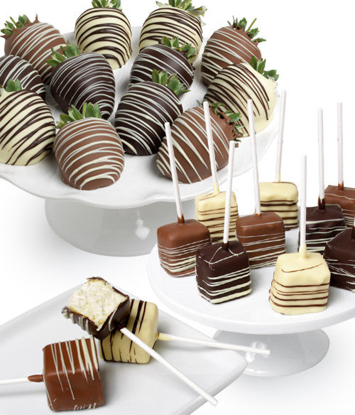 Classic Belgian Chocolate Strawberries & Cheesecake Pops - 22pc - Golden Edibles