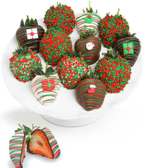 christmas belgian chocolate covered strawberries chocolate covered company - Christmas Chocolate Covered Strawberries