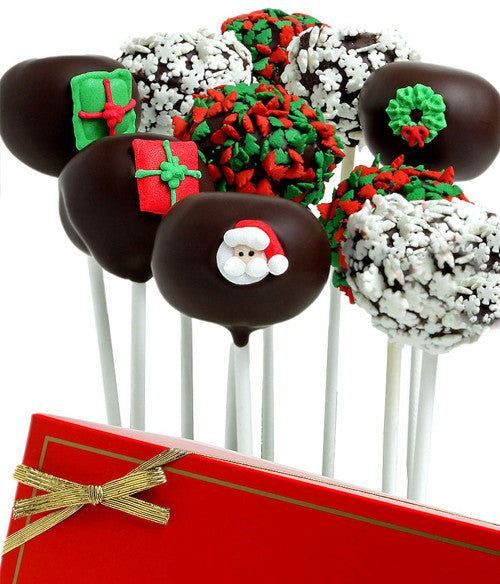 Christmas Chocolate Dipped Cake Pops - Golden Edibles