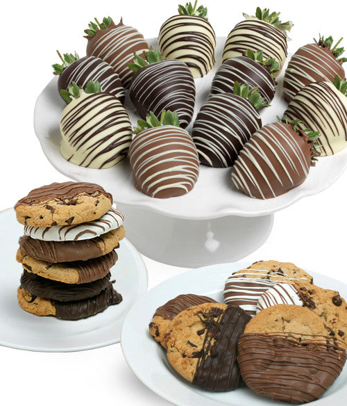 Classic Chocolate Covered Strawberries & Cookies - 24pc - Golden Edibles