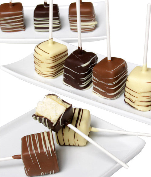 Belgian Chocolate Dipped Cheesecake Pops - 10pc - Golden Edibles
