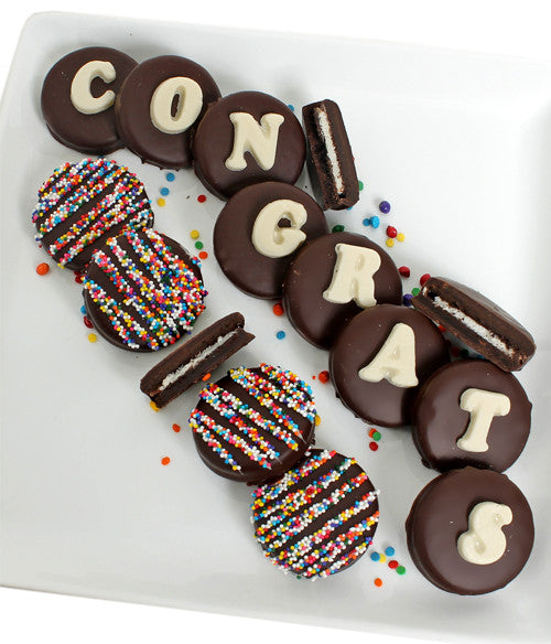 CONGRATS - Decorated Chocolate-Dipped OREO® Cookies Gift - Golden Edibles