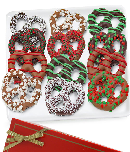 Holiday Belgian Chocolate Covered Pretzel Twists - 12pc