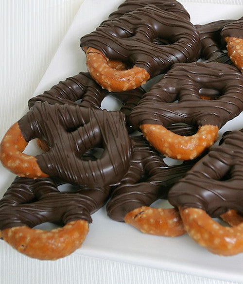 Dark Belgian Chocolate Covered Pretzel Twists - Golden Edibles