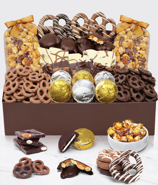 Sensational Belgian Chocolate Snack Gift Basket Tray