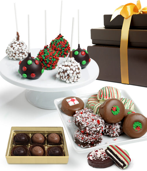 FANCY HOLIDAY Chocolate Covered Gourmet Gift Tower