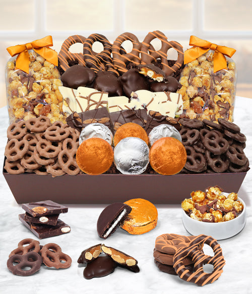 Fall Thanksgiving Sensational Belgian Chocolate Snack Gift Basket Tray - Chocolate Covered Company®