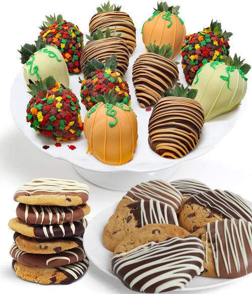 Fall Chocolate Strawberries & Gourmet Cookies - 24pc - Chocolate Covered Company®