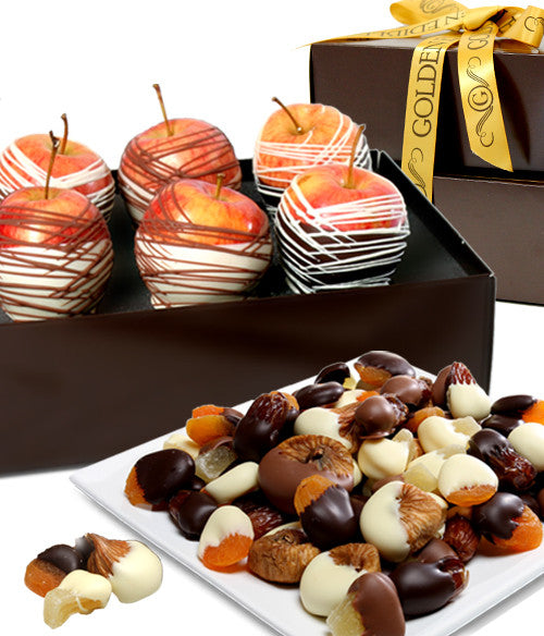Decadent Chocolate Covered Fruit Gift Tower - Golden Edibles