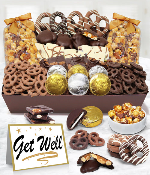GET WELL - Sensational Belgian Chocolate Snack Gift Basket Tray - Chocolate Covered Company®