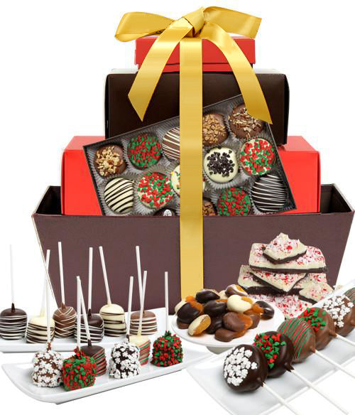 DELUXE HOLIDAY Belgian Chocolate Covered Gourmet Gift Basket - Chocolate Covered Company®