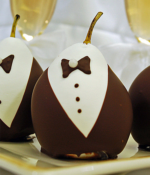 Wedding Chocolate Covered Pears - Golden Edibles