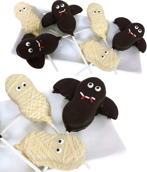 Bats & Mummies Halloween Cookie Pops - 6pc - Chocolate Covered Company®