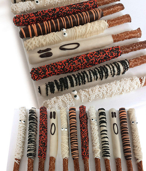 Mummy Halloween Chocolate Covered Pretzel Rods - 12pc