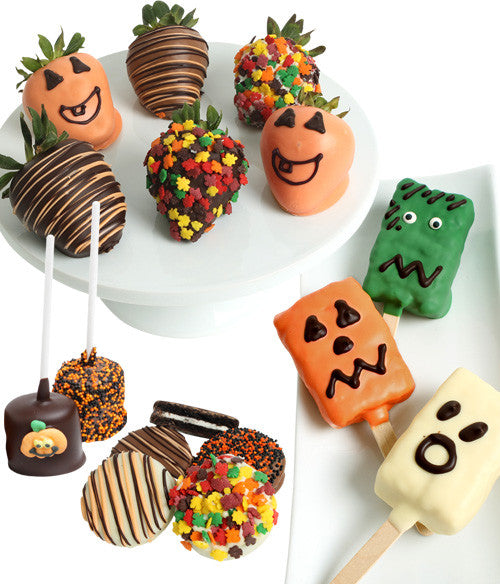 Halloween Fun Chocolate Covered Strawberries & Treats- 15 pc - Golden Edibles