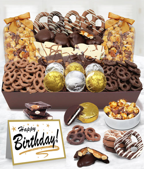 HAPPY BIRTHDAY Sensational Belgian Chocolate Snack Gift Basket Tray - Chocolate Covered Company®