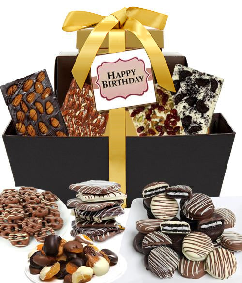 Chocolate covered company chocolate birthday gifts happy birthday mega delectable chocolate gift basket chocolate covered company negle Image collections