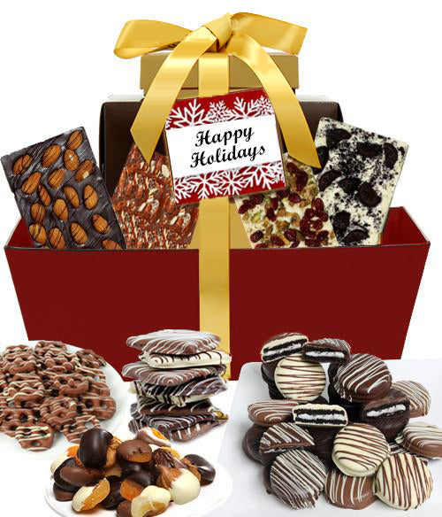 HAPPY HOLIDAYS Mega Delectable Artisan Crafted Gift Basket - Chocolate Covered Company®