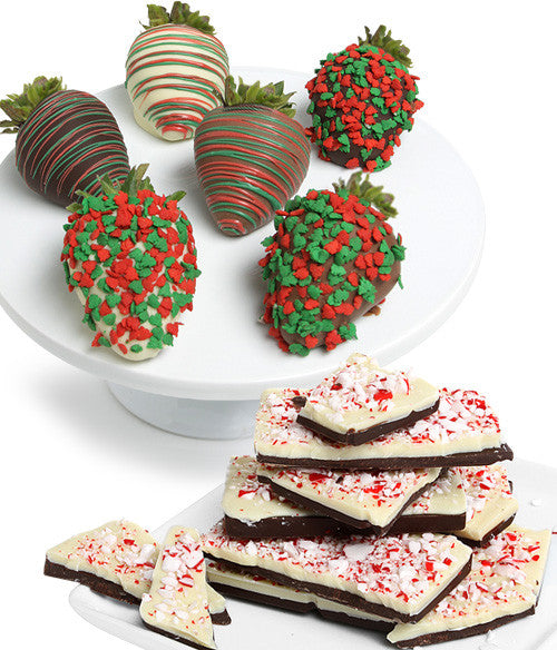Holiday Chocolate Covered Strawberries & Peppermint Bark - Golden Edibles