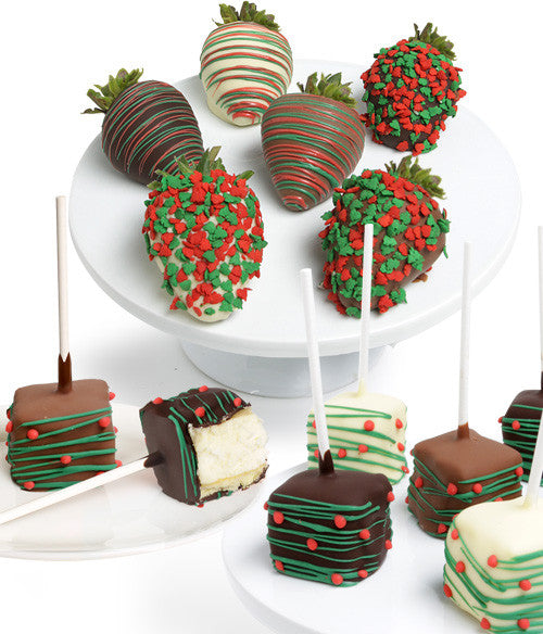 holiday belgian chocolate covered strawberries mini cheesecakes chocolate covered company - Christmas Chocolate Covered Strawberries