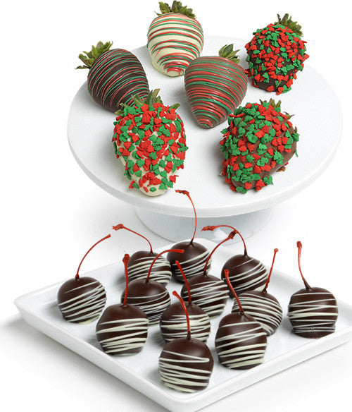 Holiday Chocolate Covered Strawberries & Cherries - Golden Edibles