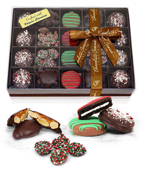 Holiday Belgian Chocolate Covered OREO® Cookies, Almond Clusters, and Nonpareils Gift Box - 21pc - Chocolate Covered Company®