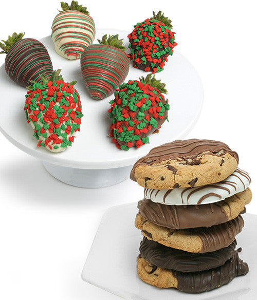 Holiday Chocolate Covered Strawberries & Gourmet Cookies - Golden Edibles