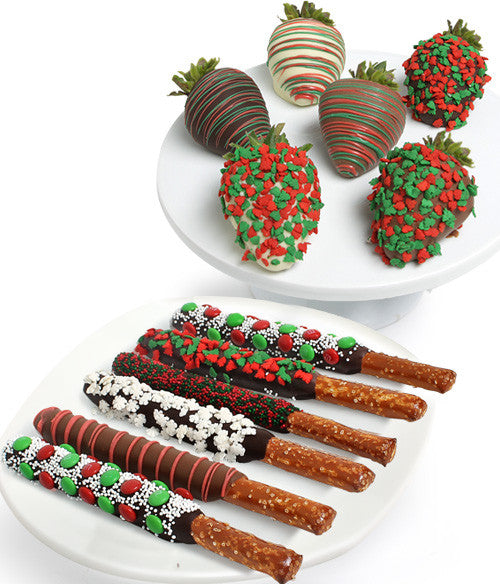 Holiday Chocolate Covered Strawberries & Pretzels - Golden Edibles