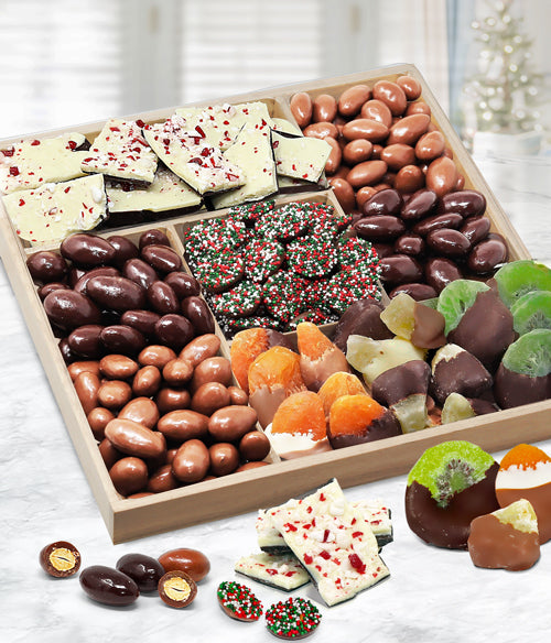 Holiday Spectacular Belgian Chocolate Covered Dried Fruit and Nut Gift Tray - Chocolate Covered Company®