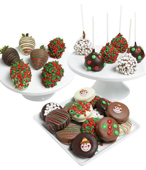 Holiday Gourmet Trio - Cookies, Strawberries & Cake Pops - 24pc - Chocolate Covered Company®