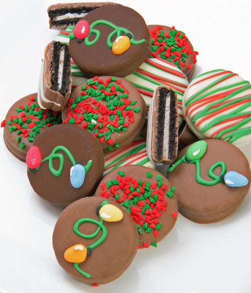 Christmas Lights Belgian Chocolate Covered Oreo Cookies Gift 12pc