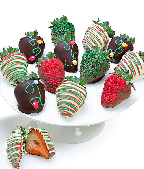 Christmas Lights Belgian Chocolate Covered Strawberries - Golden Edibles