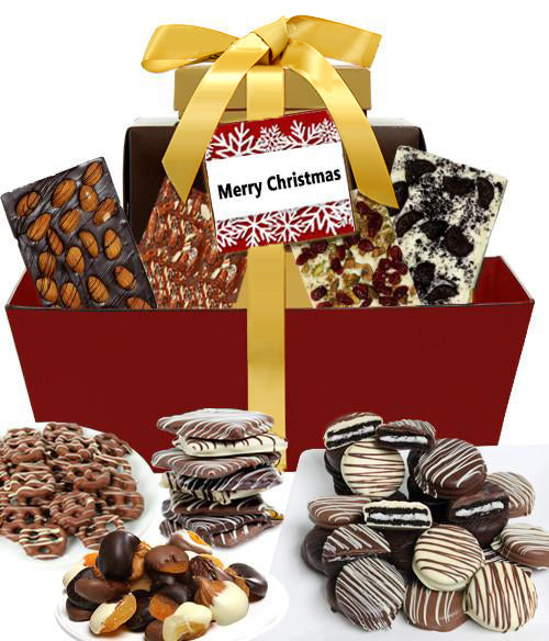 MERRY CHRISTMAS Mega Delectable Artisan Crafted Gift Basket - Chocolate Covered Company®