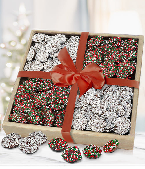 Holiday Belgian Chocolate Nonpareils Gift Tray - Chocolate Covered Company®