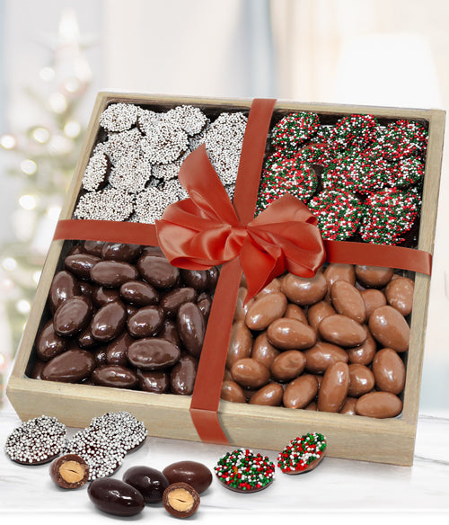 Holiday Belgian Chocolate Covered Almonds & Nonpareils Gift Tray - Chocolate Covered Company®